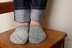 A simple and tailored pair of slippers to keep your feet cozy while relaxing around the house. Named for a favourite and peaceful vacation spot at the eastern end of Lake Ontario, these slippers knit up quickly, have a flexible length, and include an optional edging that is easily customized.