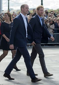 Dapper duo William and Harry make their way to the London Eye ...