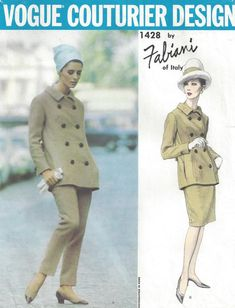 FAB Pantsuit Slim Skirt Suit Pattern Fabiani of Italy Vogue Couturier Design 1428 High Waist Skinny Pants Double Breasted Jacket Bust 38 Vintage Sewing Pattern FACTORY FOLDED-Authentic vintage sewing patterns: This is a fabulous original dress Vintage Dress Patterns, Clothing Patterns, Suit Pattern, Pattern Design, 1960s Fashion, Vintage Fashion, Estilo Retro, Vogue Patterns, Vintage Vogue