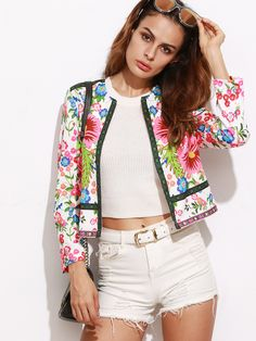 Multicolor Floral Print Collarless Open Front Blazer