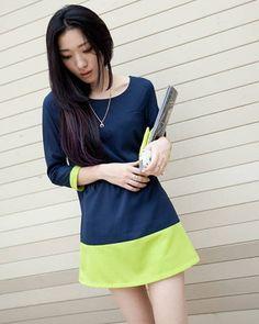 Colorblock Chiffon Dress