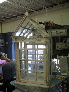 Tabletop Greenhouse of Vintage Windows. $300.00, via Etsy.