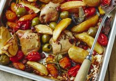 One Pan Mediterranean Roast Chicken, Potatoes and Peppers by Jo Pratt Recipe | [node:field_recipe_types] recipe types | Love Potatoes