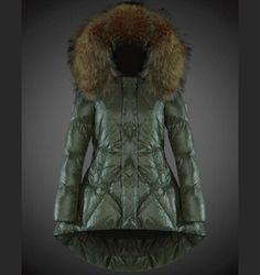 authentique Femme Manteau Blouson Moncler capuchon de fourrure vert paris