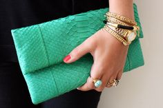 I just bought this clutch, great contrast with the jewelry