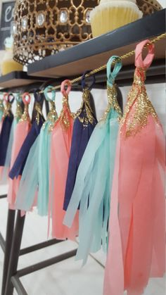 Navy, Mint and Coral Gold Glitter Dipped Fringe Tassel Party Garland…