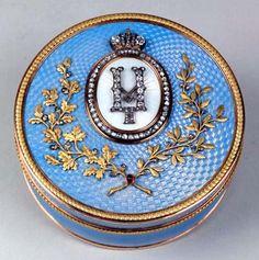 Faberge guilloche enamel and diamond presentation box