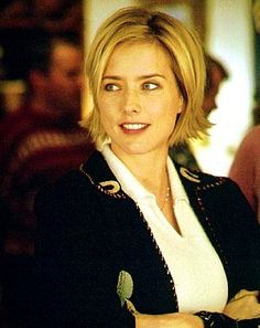 Tea Leoni - short hair, choppy layers, long bangs