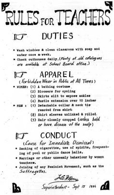 Take a look at some of these retro school rules, and then you will probably be thankful you weren't a teacher back in the day. Teacher Quotes, Teacher Hacks, Teacher Humor, Rules For Teachers, Teacher Resources, Teaching Ideas, Old School House, History Education, History Facts