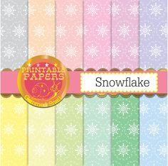 Snowflake digital paper 'Snowflake', seamless tileable pastel color snowflake patterns x 12 by GemmedSnail on Etsy