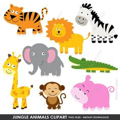 Jungle Animals Clipart, Cute Animals Clip Art, Animals Clipart, Farm Animals Clipart, Digital Clip Cute Animals With Funny Captions, Cute Animals Puppies, Cute Baby Animals, Funny Animals, Baby Boys, Panda Tree, Animal Crafts For Kids, Cute Animal Videos, Pet Costumes