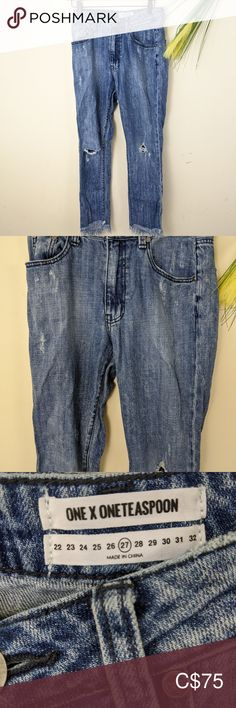 One Teaspoon highrise boyfriend jeans Rise Inseam Great condition as shown Distressed and unfinished hems One Teaspoon Jeans Boyfriend Plus Fashion, Fashion Tips, Fashion Trends, Boyfriend Jeans, Denim Shorts, Outfits, Things To Sell, Style, Fashion Hacks