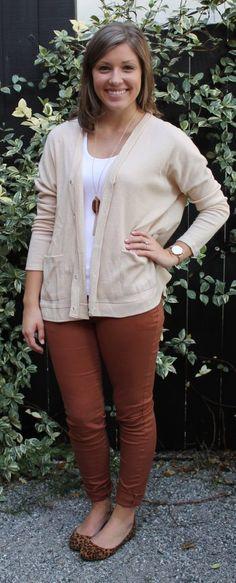 Tan cardigan, copper jeans, leopard flats, long statement necklace- super cute fall fashion - Studio 3:19