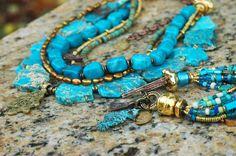 Turquoise Statement Necklace and Bracelet Set Necklace $350 Bracelet $195