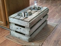 DIY Raised Dog Feeder from Old Crate