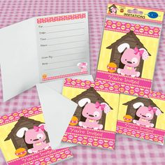 Girl Puppy Dog - Set of 8 Fill In Birthday Party Invitations  $4.99