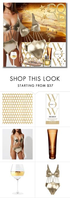 """GOLD Coast"" by mimi1207 ❤ liked on Polyvore featuring Barclay Butera, Color Wow, River Island, Clarins and Michael Wainwright"