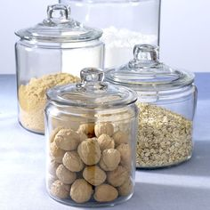 These oversized apothecary jars are a more elegant version of mason jars. Perfect for storing rice, pasta, nuts, jellybeans, flour, sugar and much more!