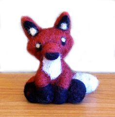 Needle Felted Fox Soft Sculpture Figurine - 5 Inches Tall Figure - Made to Order - Felt Red Fox Art Doll - Felted Woodland Animal Miniature