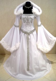 MEDIEVAL DRESS SILVER 20-22-24 XL-2XL-3XL SNOW ICE QUEEN FROZEN ELSA NARNIA ROBE #Custommade #Dress