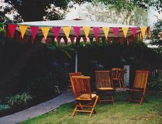 Disguising a clothesline for a party. Turn it into an umbrella or use fabric to make a tent