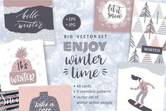 Enjoy winter time! Big vector set. by GrapeStudio on @creativemarket