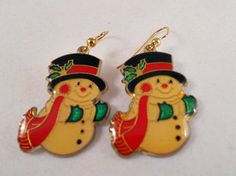 Snowman Earrings with Gold Tone Wires.   So by AprilSnowJewelry, $11.00
