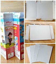 Cereal box pop up dolls house