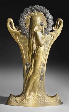 LOUIS CHALON (1866-1940) REINE DES PRÉS VASE, CIRCA 1901 gilt and patinated bronze 14½ in. (37 cm.) high signed in cast L. Chalon, foundry mark E. COLIN & CIE PARIS