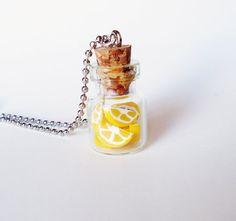 Miniature Bottle Jewelry  LEMON SLICES  necklace  by FrozenNote