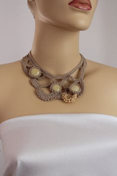 Gift for Her / Beige Crochet Necklace with glass ♡♥ by levintovich, $40.00