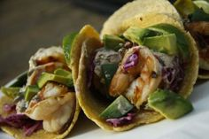 Honey Lime Shrimp Tacos with Bacon Slaw and Chipotle Lime Cilantro Crema - Eat to Perform