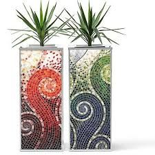 Obbligato contemporary furniture and accessories - planters, seating & bespoke furniture for commercial, retail and hospitality projects Mosaic Planters, Mosaic Garden Art, Mosaic Vase, Mosaic Flower Pots, Mosaic Tiles, Mosaics, Mosaic Crafts, Mosaic Projects, Sicis Mosaic