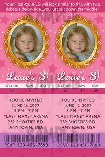 Custom VIP Ticket invitations for girl birthday party. (jpeg to print as 4x6 photo)
