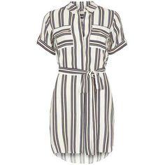 Petite Coral Stripe Shirtdress ($57) ❤ liked on Polyvore featuring dresses, long shirt dress, stripe shirt dress, shirt dress, striped dress and white dress