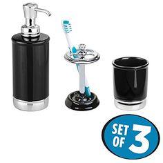 mDesign Ceramic Bath Accessory Set Soap Dispenser Pump Toothbrush Holder Tumbler  Set of 3 BlackChrome