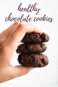 These chickpea flour cookies are sweet and chocolaty, but secretly good for you. They're vegan and gluten free, made with only 10 ingredients and 15 minutes of prep time. #vegan #glutenfree #cookies Easy Vegan Cookies, Healthy Chocolate Cookies, Vegan Gluten Free Desserts, Gluten Free Recipes, Vegan Recipes, Snack Recipes, Dessert Recipes, No Flour Cookies, Healthy Sweet Treats