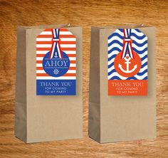 $3.95 Nautical Party Theme Thank You Lolly Bag Tags (Personalised DIY Printables)