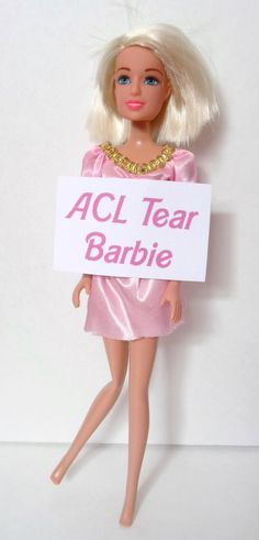Read all about ACL Barbie! I am dying!but hilarious none-the-less Acl Surgery Recovery, Acl Recovery, Acl Knee Brace, Knee Injury, Meniscus Surgery, Surgery Humor, Acl Tear, Athletic Trainer, Knee Surgery