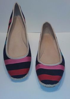 c04162a25e80 Kate Spade New York Espadrilles Womens Sz 9.5 Multicolored Flats Canvas  Leather   Clothing, Shoes