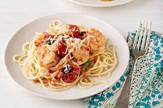 Espagueti con camarones y salsa de tomates asados y albahaca receta