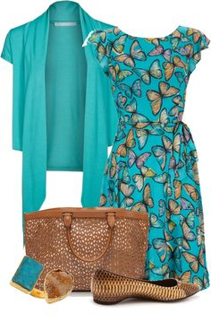 """set 1259"" by ana-angela on Polyvore cardigan of a different color would be nice but I LOVE the dress!"