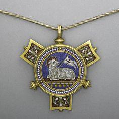 MICROMOSAIC GOLD AGNUS DEI NECKLACE, 19TH C.
