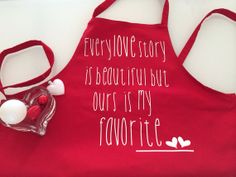 Love Story Red Apron by gojeko on Etsy, $15.00