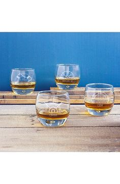 Getting nautical with these etched whiskey glasses that determine who is the Captain, Navigator, First Mate and Crew.