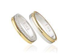 Aliança Infinity Love Double Monte Cristo Ouro branco e amarelo com diamantes. Aliança em duas voltas.