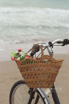 Flowers in a tote bag on the handle bars of a bike at the beach