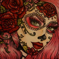 Day of the Dead Rockabilly Pin Up Pink Hair Dia De by Pajamasquid, $23.00
