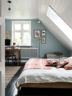 pale blue walls - painted paneled ceiling - attic room
