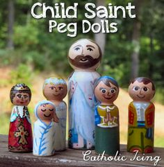 Painting child peg dolls on smaller pegs- child Saints to add to your peg doll collection. So cute! The kids will love this!